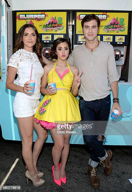 Singer Alyson Stoner singer Megan Nicole and actor Ryan McCartan attend the 7Eleven 88th birthday celebration at 7Eleven on July 10 2015 in Burbank...