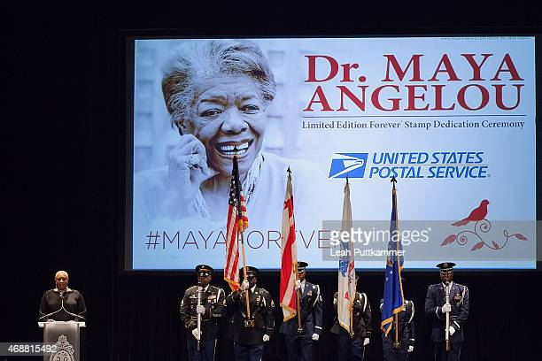 Singer Alyson Williams sings the National Anthem at the Dr Maya Angelou Forever Stamp Dedication Ceremony at Warner Theatre on April 7 2015 in...
