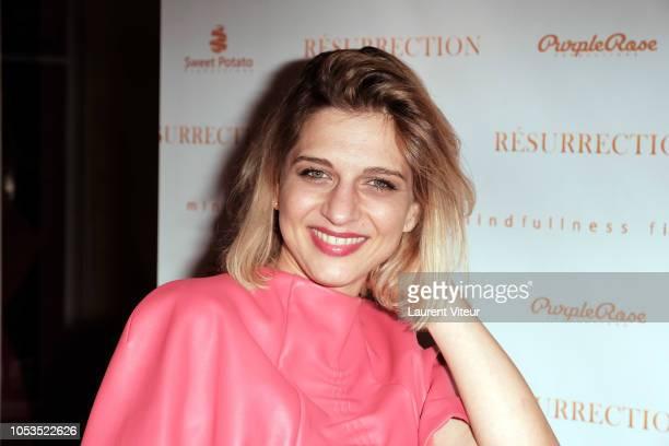 Singer Amandine Bourgeois attends 'Resurrection' Paris Premiere at Societe des Ateurs et Compositeurs Dramatiques on October 25 2018 in Paris France