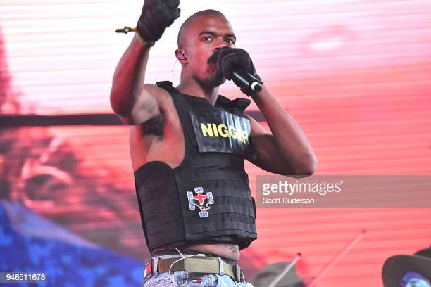 Singer Ameer Vann of the BROCKHAMPTON collective performs on the Mojave stage during week 1 day 2 of the Coachella Valley Music and Arts Festival on...