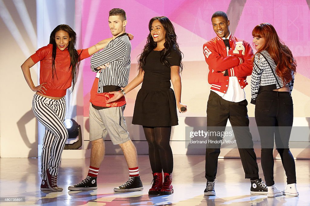 Singer Amel Bent (C) and dancers perform on stage during the recording of television show host's Michel Drucker's 'Vivement Dimanche' weekly show at Pavillon Gabriel on March 26, 2014 in Paris, France.
