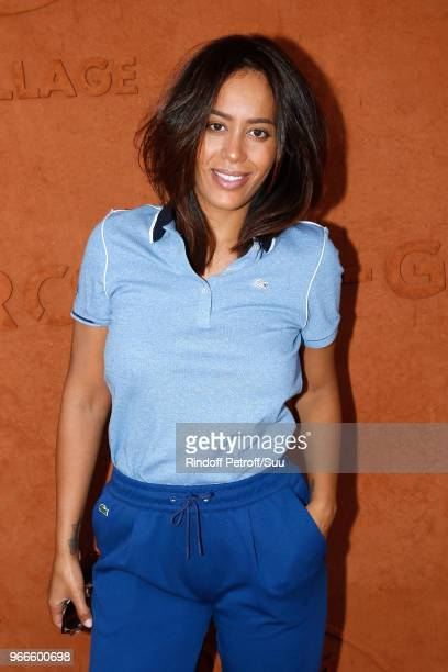 Singer Amel Bent attends the 2018 French Open Day Eight at Roland Garros on June 3 2018 in Paris France