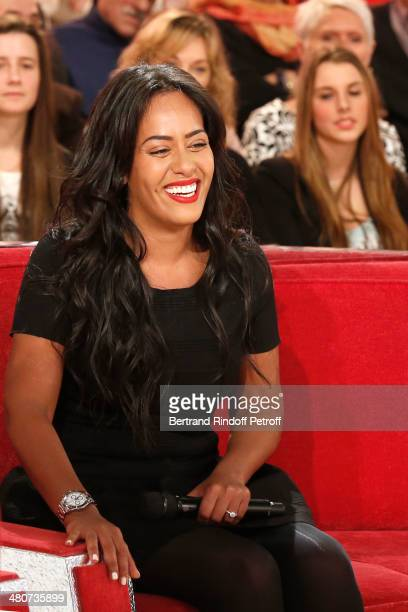 Singer Amel Bent reacts during the recording of television show host's Michel Drucker's 'Vivement Dimanche' weekly show at Pavillon Gabriel on March...