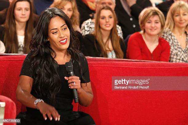 Singer Amel Bent talks during the recording of television show host's Michel Drucker's 'Vivement Dimanche' weekly show at Pavillon Gabriel on March...