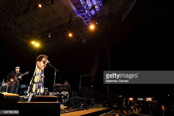 Singer Amel Larrieux performs at the 2012 City Parks Foundation Summerstage Gala 'The Music of Jimi Hendrix' at Rumsey Playfield Central Park on June...