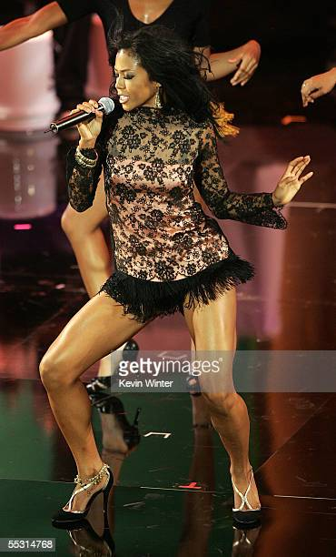 Singer Amerie performs onstage at the 10th Annual Soul Train Lady of Soul Awards held at the Pasadena Civic Auditorium on September 7 2005 in...