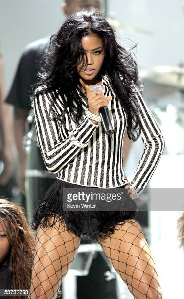 Singer Amerie performs onstage at the 2005 World Music Awards at the Kodak Theatre on August 31 2005 in Hollywood California