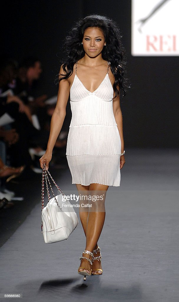 Singer Amerie walks the runway at the 'Fashion for Relief' fashion show, with proceeds going to aid Hurricane Katrina victims, during Olympus Fashion Week at Bryant Park September 16, 2005 in New York City.