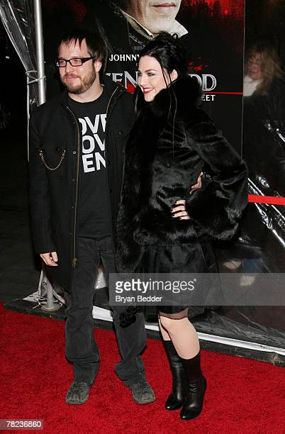Singer Amy Lee and husband Josh Hartzler attend the New York premiere of Sweeney Todd The Demon Barber Of Fleet Street at the Ziegfeld Theater on...
