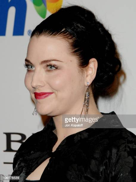 Singer Amy Lee arrives to the Clive Davis PreGrammy Party at the Beverly Hilton Hotel on February 9 2008 in Beverly Hills California
