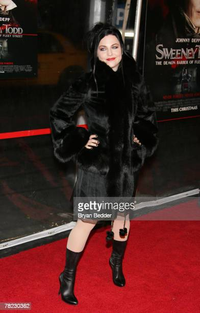 Singer Amy Lee attends the New York premiere of Sweeney Todd The Demon Barber Of Fleet Street at the Ziegfeld Theater on December 3 2007 in New York...