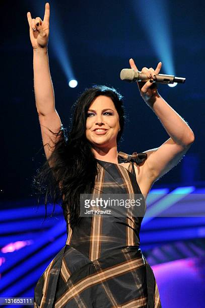 Singer Amy Lee from Evanescence onstage during the MTV Europe Music Awards 2011 live show at the Odyssey Arena on November 6 2011 in Belfast Northern...