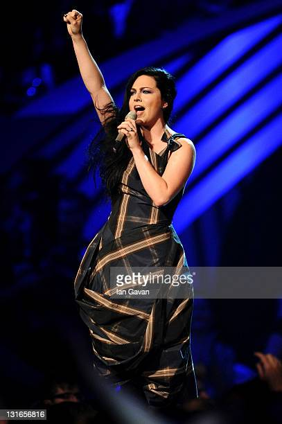 Singer Amy Lee of Evanescence onstage during the MTV Europe Music Awards 2011 live show at at the Odyssey Arena on November 6 2011 in Belfast...