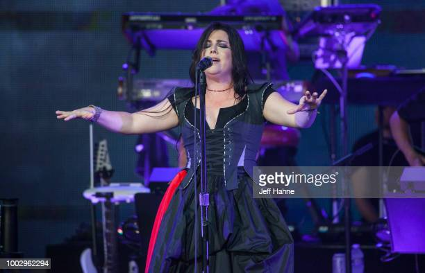 Singer Amy Lee of Evanescence performs at PNC Music Pavilion on July 20 2018 in Charlotte North Carolina