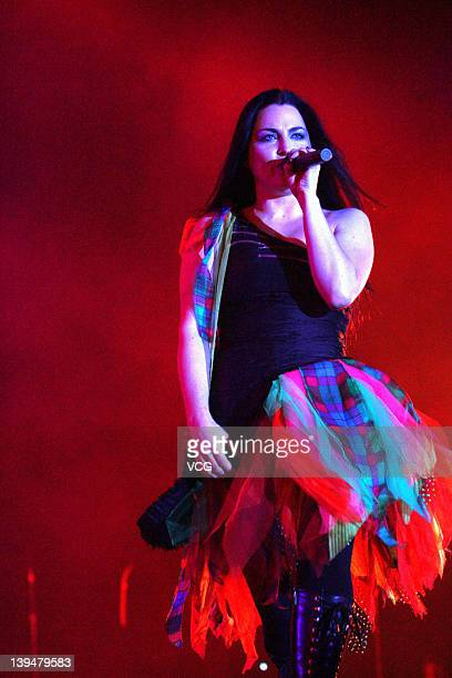 Singer Amy Lee of Evanescence performs on stage during the Evanescence concert on February 21 2012 in Hong Kong China