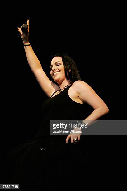 Singer Amy Lee of Evanescence performs on stage in concert at the Sydney Entertainment Centre on February 17 2007 in Sydney Australia