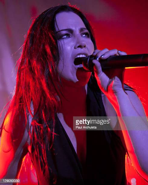 Singer Amy Lee of the Rock Band Evanescence performs live in concert at Hollywood Palladium on October 11 2011 in Hollywood California