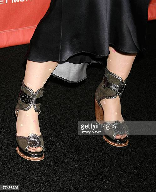 Singer Amy Lee'ss shoes of the band Evanescence at Spike TV's 'Scream 2007' held at The Greek Theatre on October 19 2007 in Los Angeles California