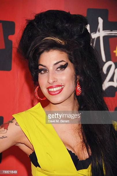 Singer Amy Winehouse arrives at the BRIT Awards 2007 in association with MasterCard at Earls Court 1 on February 14 2007 in London England