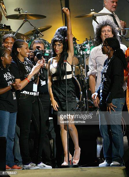 Singer Amy Winehouse onstage during the 46664 Concert In Celebration Of Nelson Mandela's Life held at Hyde Park on June 27 2008 in London England...