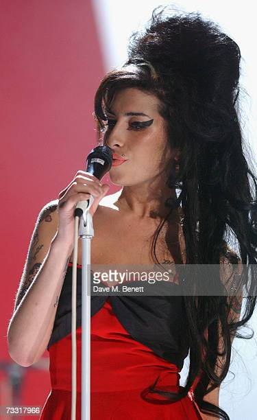 Singer Amy Winehouse perfoms on stage during the rehearsals at the Brit Awards 2007 at Earls Court 1 on February 14 2007 in London England