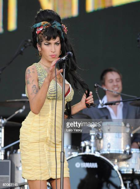 Singer Amy Winehouse performs at Rock in Rio Madrid in Arganda del Rey on July 4 2008 in Madrid Spain