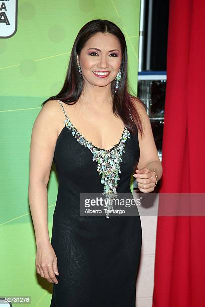 Singer Ana Gabriel poses backstage at 2005 Billboard Latin Music Awards at the Miami Arena April 28 2005 in Miami Florida