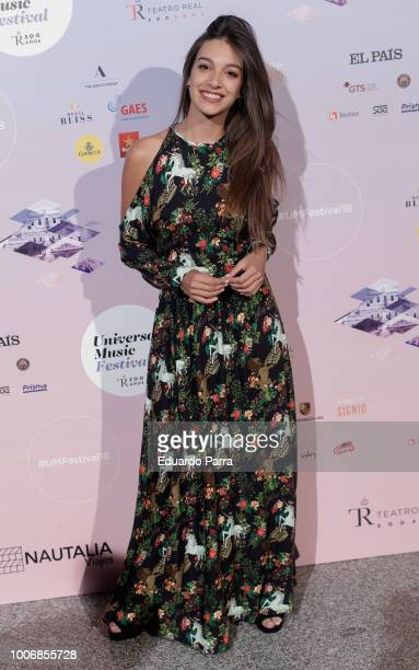 Singer Ana Guerra attends the Pablo Lopez concert photocall at Royal Theatre on July 28 2018 in Madrid Spain