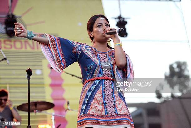 Singer Ana Tijoux performs onstage during the Supersonico Festival at The Shrine Auditorium on October 11 2014 in Los Angeles California