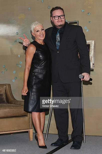 Singer Ana Torroja and Leonel Garcia attend a press conference at St Regis Hotel on July 22 2015 in Mexico City Mexico