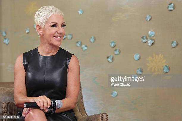 """Singer Ana Torroja attends a press conference to promote her album """"En vivo Conexion"""" and tour at St Regis Hotel on July 22, 2015 in Mexico City,..."""