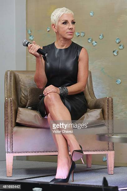 Singer Ana Torroja attends a press conference to promote her album 'En vivo Conexion' and tour at St Regis Hotel on July 22 2015 in Mexico City Mexico