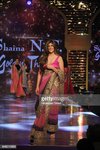 Singer Ananya Birla walks the ramp displaying the creation of fashion designer Shaina NC during a starstudded fashion show in aid of Cancer Patients...