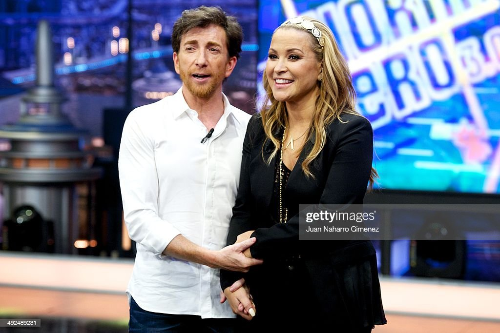 Singer Anastacia (R) and Pablo Motos attend 'El Hormiguero' Tv show at Vertice 360 Studio on May 20, 2014 in Madrid, Spain.