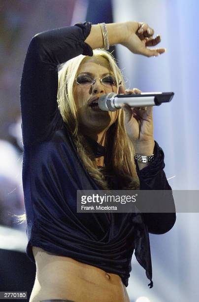 Singer Anastacia performs at the '46664 Give One Minute of Your Life to AIDS' concert held on November 29 2003 at Greenpoint Stadium in Cape Town...