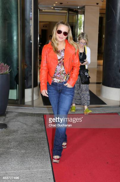 Singer Anastacia sighted departing the Waldorf Astoria Hotel on August 17 2014 in Berlin Germany