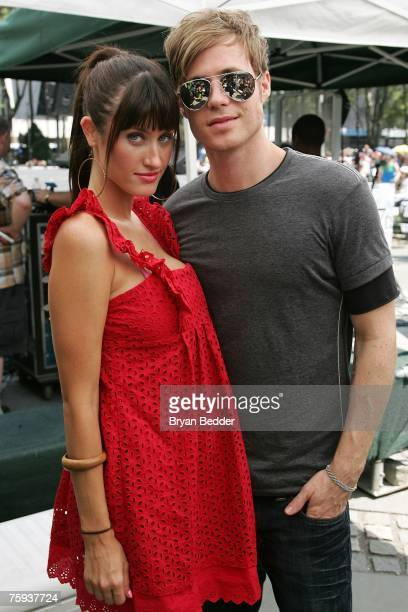 Singer and actor Ashley Parker Angel of Hairspray and his girlfriend Tiffany Lynn pose backstage at Broadway In Bryant Park 2007 presented by 1067 FM...