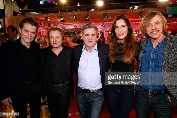 Singer and Actor Benabar Actors Laurent Stocker Daniel Auteuil Zoe Felix and Pascal Demolon attend the 'Vivement Dimanche' French TV Show at Pavillon...