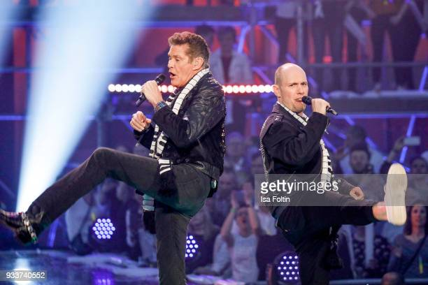 US singer and actor David Hasselhoff and German singer and actor Oli P during the tv show 'Heimlich Die grosse SchlagerUeberraschung' on March 17...
