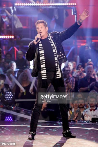 US singer and actor David Hasselhoff during the tv show 'Heimlich Die grosse SchlagerUeberraschung' on March 17 2018 in Munich Germany