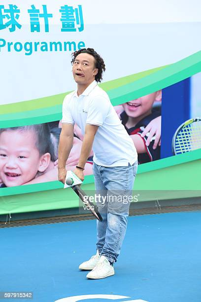 Singer and actor Eason Chan attends the press conference of Jockey Club Tennis Rocks Programme on August 30 2016 in Hong Kong China