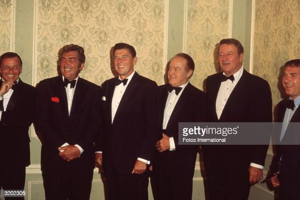 Singer and actor Frank Sinatra actor Dean Martin California Governor and former actor Ronald Reagan comedian Bob Hope actor John Wayne and an...