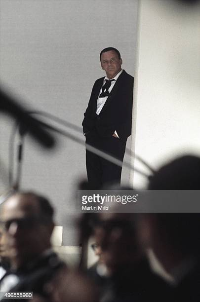 Singer and actor Frank Sinatra backstage on the television special 'Francis Albert Sinatra Does His Thing' on August 15 in Los Angeles California