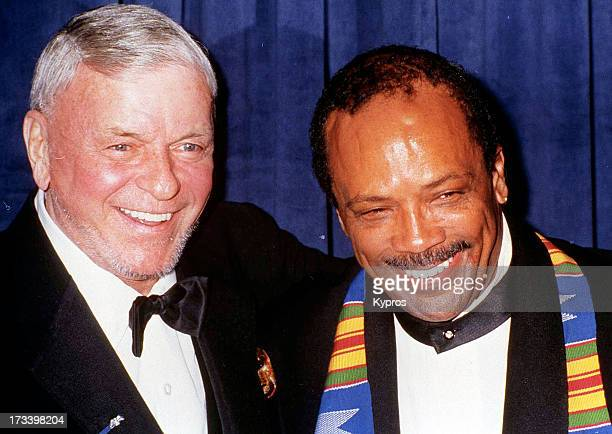 Singer and actor Frank Sinatra with record producer Quincy Jones at the 21st Annual Scopus Awards on January 13 1991 at the Century Plaza Hotel in...