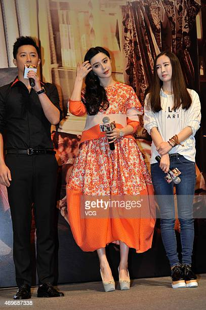Singer and actor Han Geng actress Fan Bingbing and director Li Yu attend new movie Ever Since We Love press conference on Apri 14 2015 in Chengdu...