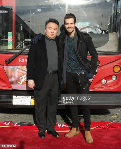 Singer and actor James Maslow and David W Chien unveil James Maslow's Ride Of Fame IT Bus at Pier 78 on December 6 2017 in New York City