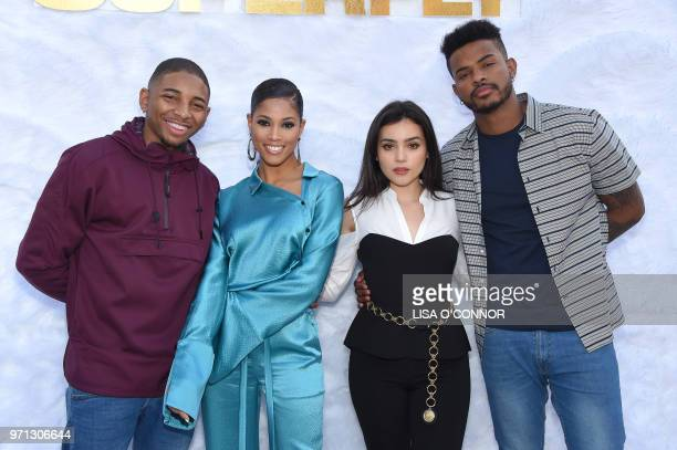 US singer and actor Kaalan Walker US actress Lex Scott Davis Mexican actress Andrea Londo and US actor Trevor Jackson attend the 'Superfly' Special...