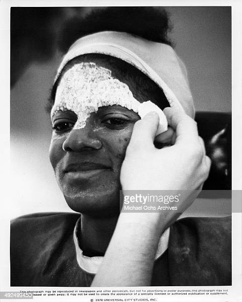 Singer and actor Michael Jackson in makeup for his role as the Scarecrow in the Universal Pictures film 'The Wiz' in 1978 in New York City New York