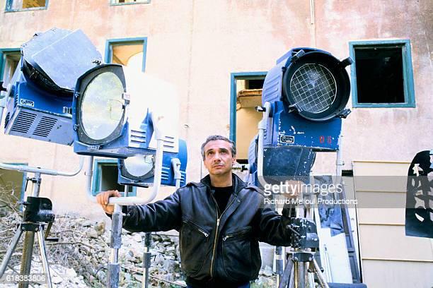 Singer and Actor Michel Sardou on Set of Cross
