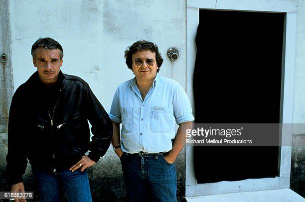 Singer and Actor Michel Sardou with Director Philippe Setbon on Set of Cross